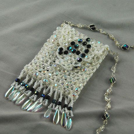 weaving raw white right angle bead crystal seed weave beads bag necklace jewelry amulet