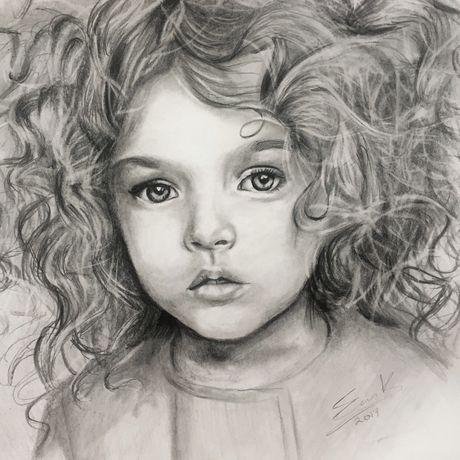 single sketch drawn portrait white illustration black hand drawing pencil custom graphite