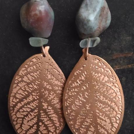 earrings agate macro copperleaf leaves leaf nature jewelry fluorite