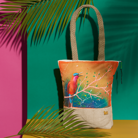 handpainted birds canvas organic fauna southern carmine pouches totes summer bags cotton nature handcrafted