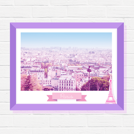 wall poster print urban eiffel for paris her photography art gift home decor pink tower travel