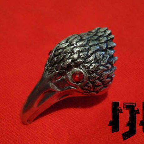 pagan head finger gothic bird dark ring armour crow demon jewelry raven stone red ruby