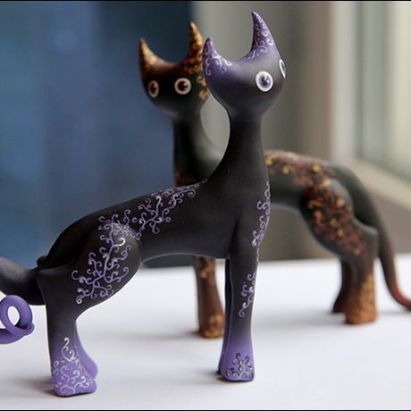black interior clay cat
