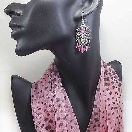 mixmetal statement chainmaille earrings crystal unique jewelry pink