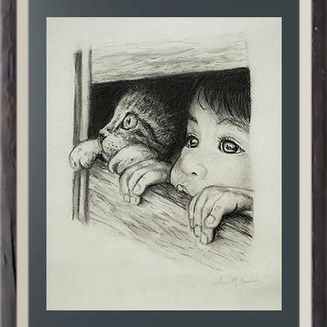 catdrawing catloversart walldecor art print wallart fineartprint