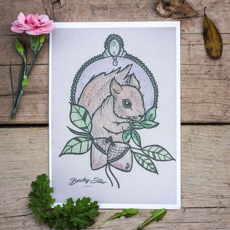 art prints squirrel nature