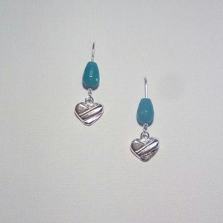heartearrings silverearrings earrings gift agate jewelry