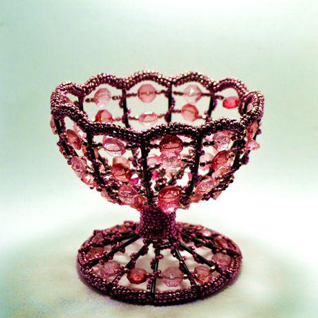 footed beaded pink bowl sugar