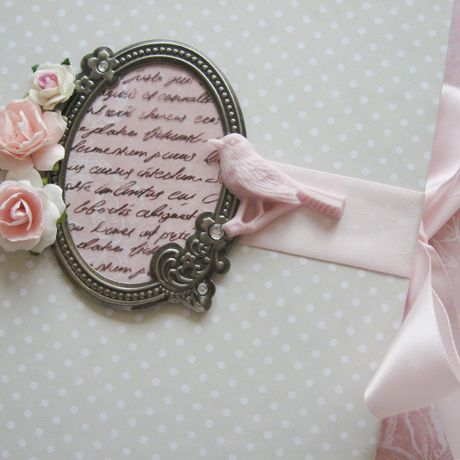 paper ribbons notebook white pink