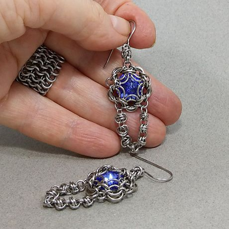 earrings crystal blue sapphire rivoli chain swarovski stone mail