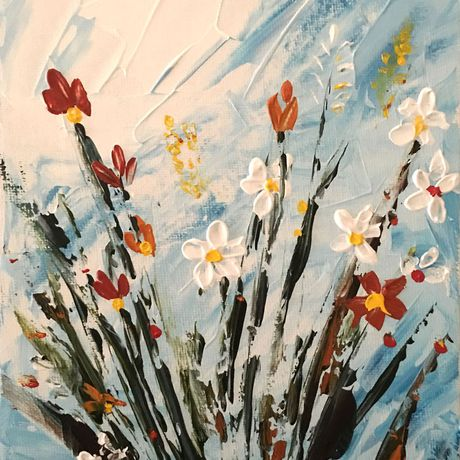 flowers painting textured abstract vase paintings gift original small art flower