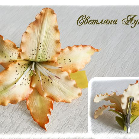 hair hairclip lily orange accessories