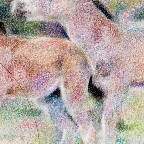 peaceful picture drawing original art horses child nursary visual foal rainbow illustration dry baby soft pastel positive