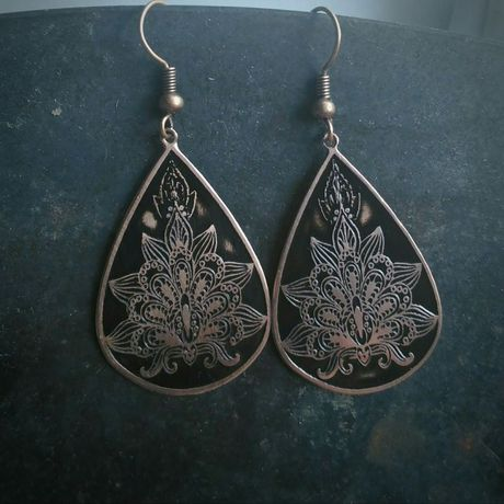 copper earrings gift engraved lotus antiquated