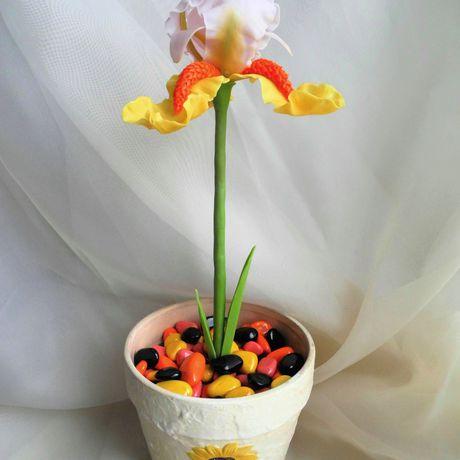 flowers handmade iris coldporcelain flowerinapot handmadegift ceramic interior