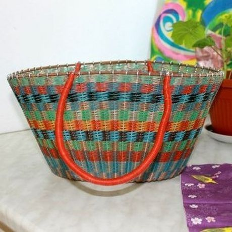 wicker retro basket vintage colorful