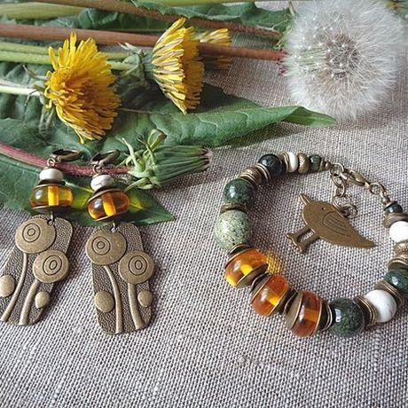earrings jewel bracelet summer accessorizes set serpentine amber