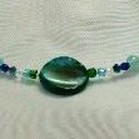 togglecloser blue necklace jewelry ocean kriszcreations green