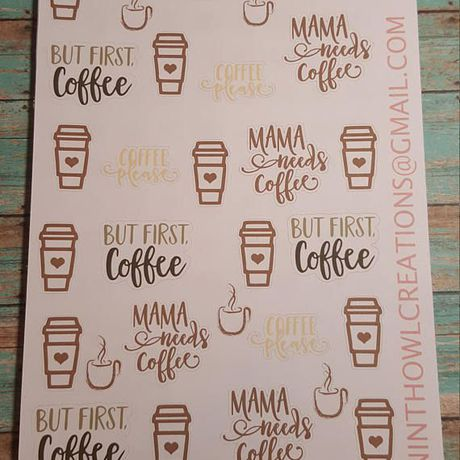 coffee stickers planner mama