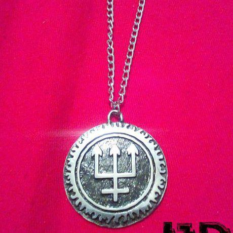 pagan pendant watain satanic black trident necklace jewelry metal