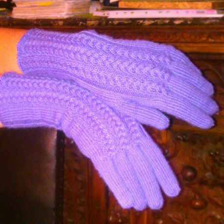 wool gloves knitting violet clothes accessories