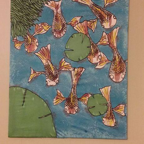 fish handmade painting koi wall decor silk