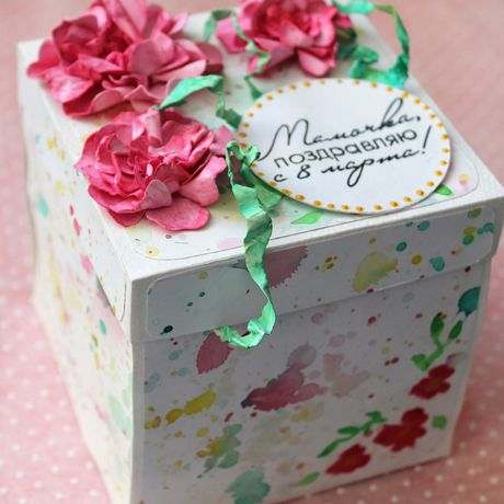 paper gift scrapbooking flower box