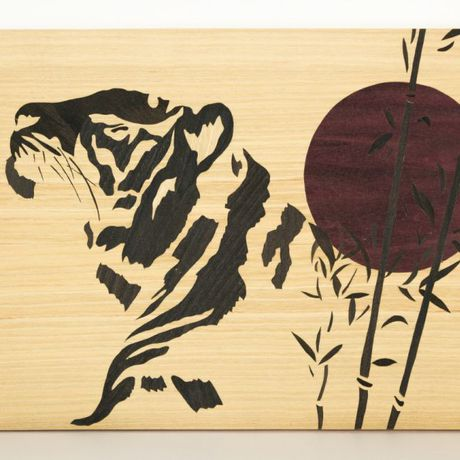 animal sunset marquetry tiger cats bamboo zen japanese