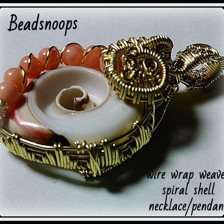 pendant spiralshell necklace jewelry beadsnoops wirewrapweave