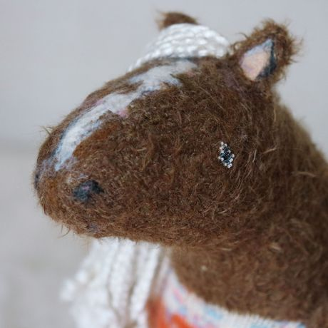 knitted brown kids natural toy pony horse sculpture gift fiber soft colletcible fluffy stuffed silk