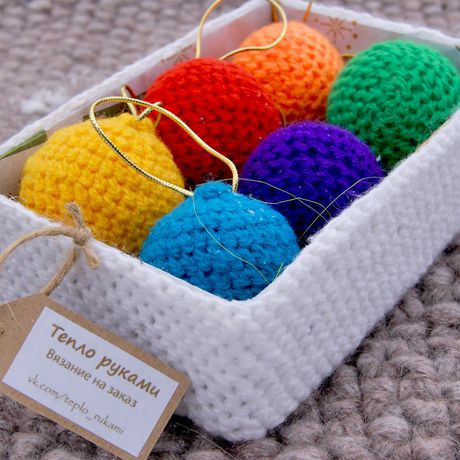 balls decor christmas tree knitting interior