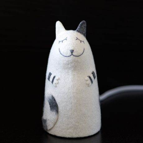 nightlight felt grey white cat lamp stripped