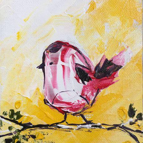 palette birdie 4x6 inches knife painting textured bird little original art acrylic