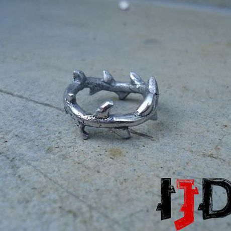 thorns silver gothic ring crown rose jewelry twig branch