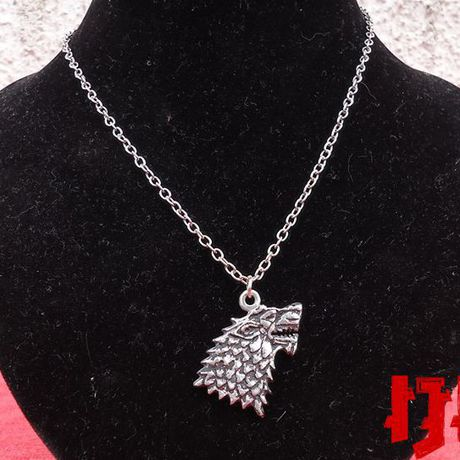 wolf pendant house silver thrones sigil stark dire indian gift necklace jewelry game