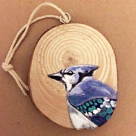 handmade bird wood christmas present ornament unique slice decor ornaments bluejay