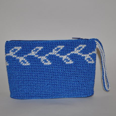 holiday handmade white newtear cosmeticsbag crossstitch zip blue souvenir embroidery cosmetics crocheted christmas clutch gift knit bag
