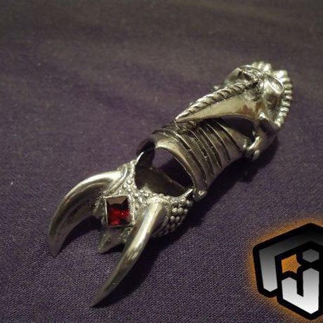 finger fingers vampire ring black claws armour goth articulated segmented demon jewelry claw metal skull