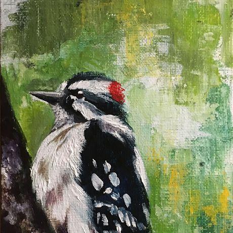 painting bird woodpecker gift original home art decor acrylic lovers