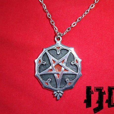 pagan pendant gothic satanic black medallion pentagram necklace jewelry witches metal necklac