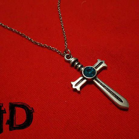 pendant silver gothic cross alternative medallion sword with necklace jewelry stone celtic