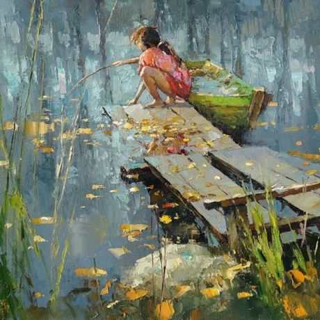 painting picture art interior river