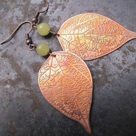 leaf earrings gift quartz leaves