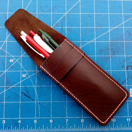 school pens handmade case pencil leather genuine lether gift small bag holder