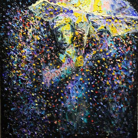 landscape oil rain painting