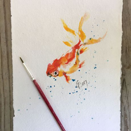 fish painting original art goldfish watercolor