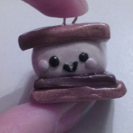 clay cute marshmallow graham crackers blush polymerclay smores charms kawaii face chocolate