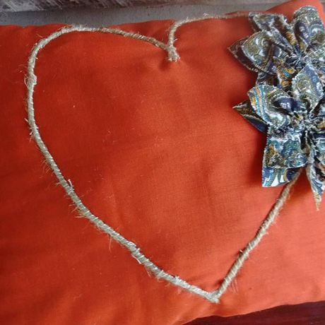 rustic upcycled country crafts pillow heart