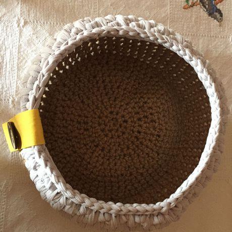 basket yuta brown cotton grey yellow button crochet