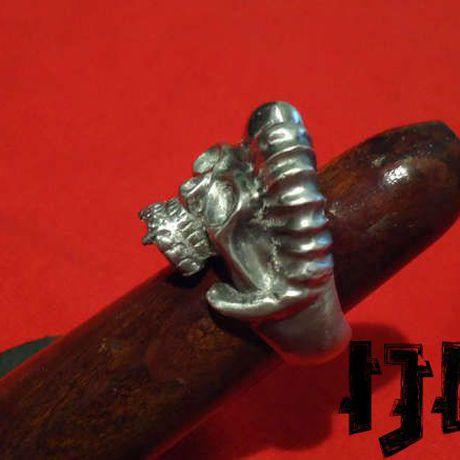 pagan head silver gothic vampire ring black goat lucifer satanist devil demon jewelry metal
